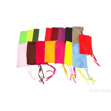 Punjabi Sikh ਪਟਕਾ (paṭka) pathka Turban Bandana Pagri Pagg Plain Patka With Four String (Tani) Wrap Color Maroon Red Dark Green Green Parrot Green Magenta Pink Purple Dark Brown Light Blue Navy Blue Yellow Gray White Kesari Orange Singh head Gear Gift