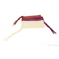 Punjabi Sikh ਪਟਕਾ (paṭka) pathka Turban Bandana Pagri Pagg Designer Silver Zari Stripe Patka With Four String (Tani) Wrap Color Brown Purple Cream Singh head Gear for infants to young kids Gear Gift