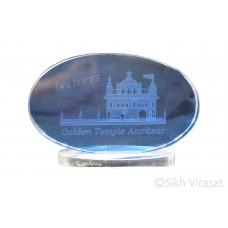 Crystal 3D Cube Paper Weight – Golden Temple Amritsar Laser Engraved Oval Glass Color Blue Gift
