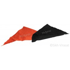Punjabi Sikh ਪਟਕਾ (paṭka) pathka Bandana Pagri Pagg Rumal Plain Triangle Patka Without String (Tani) Wrap Color Kesari, Black Singh head Gear for infants to young Gear Gift