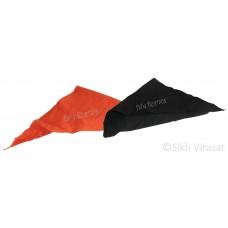 Punjabi Sikh ਪਟਕਾ (paṭka) pathka Turban Bandana Pagri Pagg Rumal Plain Triangle Patka Without String (Tani) Wrap Color Kesari, Black Singh head Gear for infants to young Gear Gift