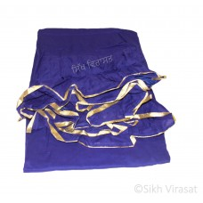 Chandoa Sahib Canopy Cotton Double Layer with Tying Strings Golden Lace Border Wavy Folds Color Royal Blue 4.5 X 4 Feet Chandoa Sahib