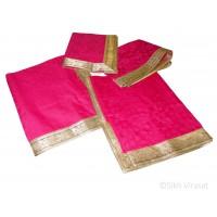 Rumala Sahib Double Emboss Flower Pattern Designer Golden lace cotton color Pink