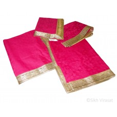 Rumala Sahib Double Emboss Flower Pattern Designer Golden lace cotton color Pink