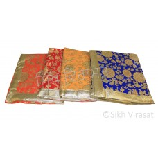 Rumala Sahib Double  Emboss Golden Flower with Color Border Pattern Designer Golden lace Velvet color Blue, Red, Orange, Yellow
