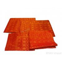 Rumala Sahib Double Emboss Banarasi Flower Pattern Designer Silk Color Maroon & Golden