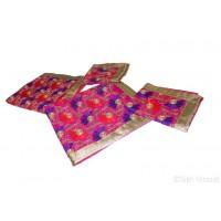Rumala Sahib Double Embroidery Multi Color Flower Pattern On Silk Rumala Designer Golden Banarasi Lace Color Multi