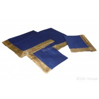 Rumala Sahib Double Emboss Mini Flower Pattern Designer Golden lace cotton color Royal Blue