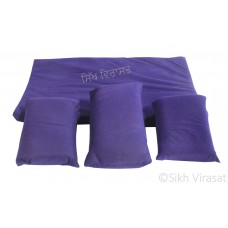Gaddi Set With Three Pillows For Peera Sahib Color Blue Small Size 25