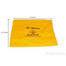 Gutka Or Pothi Sahib Gurbani Sanchi Sahib Cover Handy Cushion Velcro Cover Large Color Yellow/Blue Size 15 X 11.5 inches