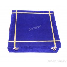 Gutka Sahib Or Pothi Sahib Box with Velvet Covering Color Blue Size 11.5 X 11.5 Inches