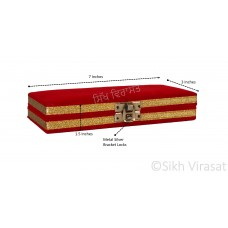 Kirpan Cover Box with Velvet Covering Color Red Small Size 7 X 3 Inches
