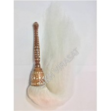 Chour or Chaur Sahib Large Decorated Wood Plastic Kadai Handle (Color- White, Size- 10 inches )