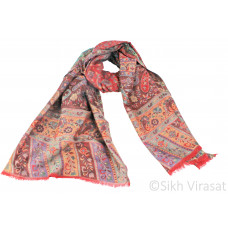 Pure Wool Light Traditional Kanni Paisley Red & Multi Color Shawl /Stole