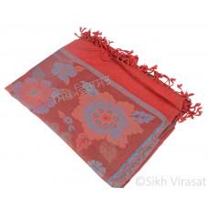 Maroon Flower Design Pashmina Semi Silk Shawl /Stole