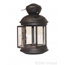 Jot Oil Brass Lamp / Glass Akhand Jyoti Diya Deepak Stand/ Holder Stand Color Black Size 8 Inches