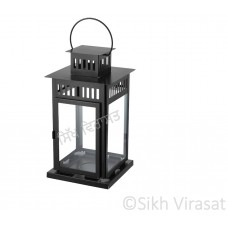 Jot Oil Brass Lamp / Glass Akhand Jyoti Diya Deepak Stand/ Holder Stand/ Lantern Color Black Large Size 17.3 Inches