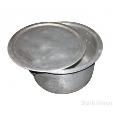Patila (Punjabi: ਪਤੀਲਾ) Kunde Wala Aluminium or Aluminum Color – Silver Size – 19 (Number 38) Inch & 27 (Number 54) Inch