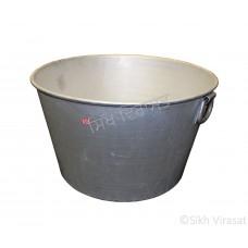 Tub (Punjabi: ਟੱਬ) Kunde Wala Aluminium or Aluminum Color – Silver Size – 25 Inch Number 50