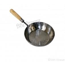 Frying Pan Iron (Punjabi: Sarabloh) Wooden Handle Size - Diameter 8.5 Inch