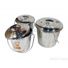 Balti (Punjabi: ਬਾਲਟੀ) Bucket Stainless-steel Color Silver Capacity 4, 4.8, 6.8 liters Size Number: 0, 1 & 2