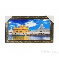 Golden Temple or Harmandir Sahib or Darbar Sahib Colored Photo, Wooden Frame with Attractive golden pattern, Size – 10x20