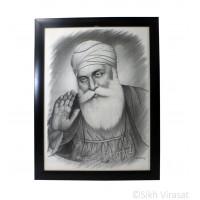 Shri Guru Nanak Dev Ji, Pencil Sketch, Black Matte Frame with transparent fiber, Size – 12x16