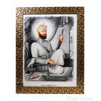 Shri Guru Gobind Singh Ji Photo, Colored Pencil Sketch, Black frame with Golden Flower Pattern with transparent fiber, Size – 12x16