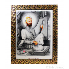Shri Guru Gobind Singh Ji Photo, Colored Pencil Sketch, Black frame with Golden Flower Pattern with transparent fiber, Size – 12x16