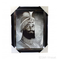 Shri Guru Gobind Singh Ji Black & White Pencil Sketch Photo, Wooden Frame with Attractive lined pattern, Size – 12x16