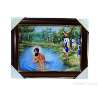 Shri Guru Gobind Singh Ji While Taking a Bath Photo, Wooden Frame with Attractive golden pattern, Size – 12x16