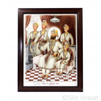 Shri Guru Gobind Singh Ji & Char Sahibzade Photo, Wooden Frame with Attractive matte finish, Size – 12x16