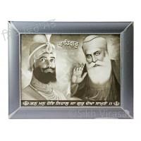 Shri Guru Gobind Singh Ji and Shri Guru Nanak Dev Ji Black & White Photo Frame Size 12 X 16