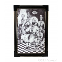 Shri Guru Gobind Singh Ji With 4 Sahibzade Black & White Photo, Wooden Frame with matte finish and golden outlines, Size – 12x18