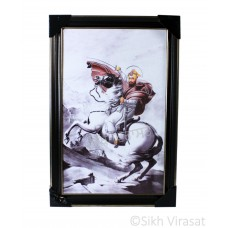 Shri Guru Gobind Singh Ji riding a horse Colored Photo, Wooden Frame with matte finish and golden outlines, Size – 12x18