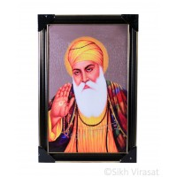 Shri Guru Nanak Dev Ji Colored Photo, Wooden Frame with matte finish and golden outlines, Size – 12x18