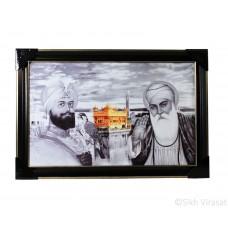 Shri Guru Nanak Dev Ji, Shri Guru Gobind Singh Ji & The Golden Temple Semi-Colored Photo, Wooden Frame with matte finish and golden outlines, Size – 12x18