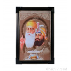 Shri Guru Nanak Dev Ji & Shri Guru Gobind Singh Ji Colored Photo, Wooden Frame with matte finish and golden outlines, Size – 12x18