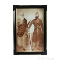 Shri Guru Nanak Dev Ji & Shri Guru Gobind Singh Ji Sepia Sketch Photo, Wooden Frame with matte finish and golden outlines, Size – 12x18