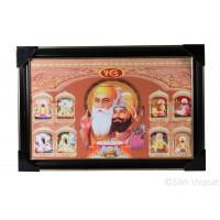 Ten Gurus or Das Guru Sahiban & Shri Guru Granth Sahib Ji Colored Photo, Wooden Frame with matte finish and golden outlines, Size – 12x18