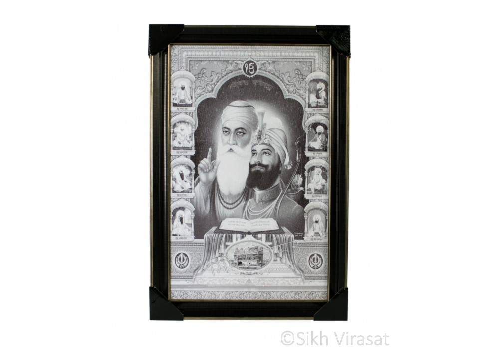 Ten Gurus or Das Guru Sahiban & Shri Guru Granth Sahib Ji Black & White Photo, Wooden Frame with matte finish and golden outlines, Size – 12x18