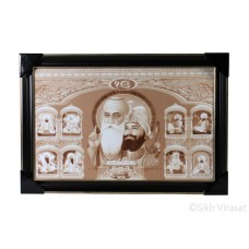Ten Gurus or Das Guru Sahiban & Shri Guru Granth Sahib Ji Sepia Photo, Wooden Frame with matte finish and golden outlines, Size – 12x18