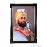 Shri Guru Gobind Singh Ji Colored Photo, Wooden Frame with matte finish and golden outlines, Size – 12x18