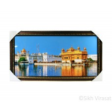Golden Temple or Harmandir Sahib or Darbar Sahib Sky Blue Photo, Wooden Frame with Attractive pattern, Size – 12x24