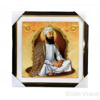 Shri Guru Teg Bahadar Ji Golden Outlined Photo, Wooden Frame with Attractive pattern, Size – 16x16
