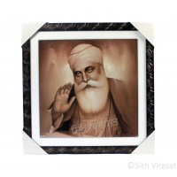 Shri Guru Nanak Dev Ji Sepia Pencil Sketch Photo, Wooden Frame with Attractive lined pattern, Size – 16x16