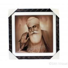 Shri Guru Nanak Dev Ji Sepia Pencil Sketch Photo, Wooden Frame with Attractive lined pattern, Size – 16x16