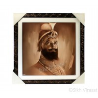 Shri Guru Gobind Singh Ji Sepia Pencil Sketch Photo, Wooden Frame with Attractive lined pattern, Size – 16x16