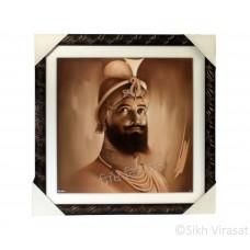 Shri Guru Gobind Singh Ji Sepia Pencil Sketch Photo, Wooden Frame with Attractive lined pattern, Size – 16x16