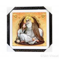 Shri Guru Nanak Dev Ji Golden Outlined Photo, Wooden Frame with Attractive pattern, Size – 16x16